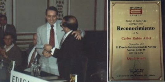 Receiving an award for Quadrivium in Mexico City.
